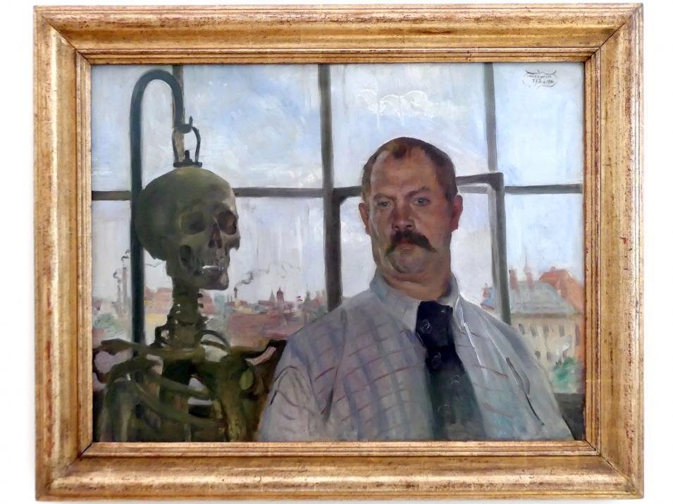 Lovis Corinth: Selbstbildnis mit Skelett, 1896