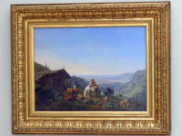 Heinrich Bürkel: Auftrieb zur Alm an der Benediktenwand, 1836