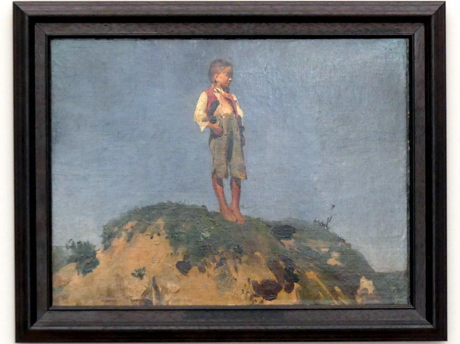 Franz von Lenbach: Hüterbub auf einem Grashügel, um 1859