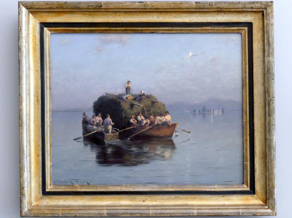 Joseph Wopfner: Heuboot am Chiemsee, um 1885