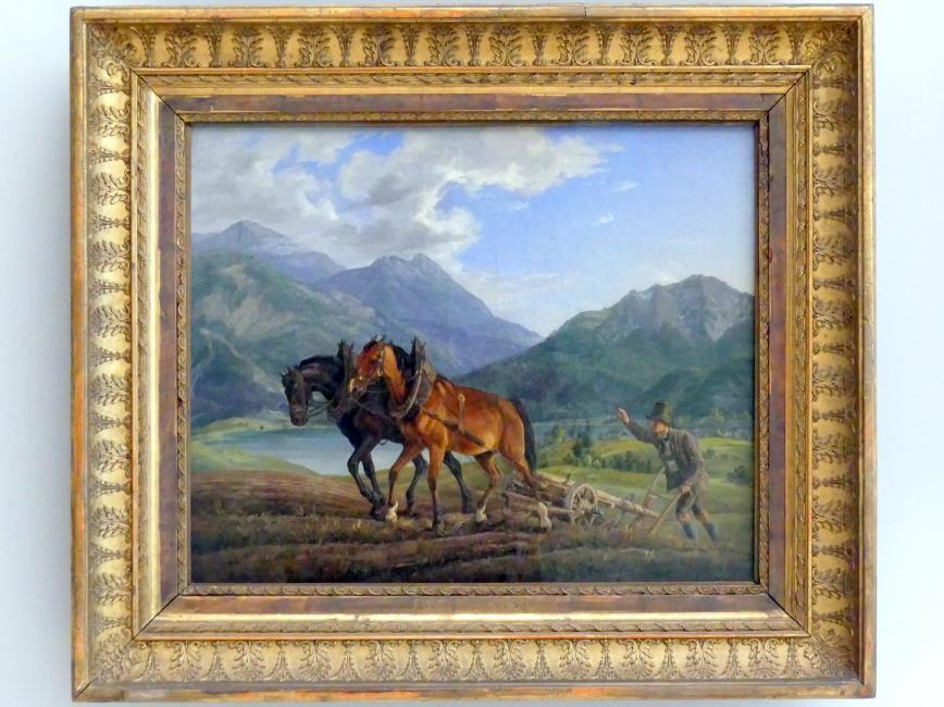 Albrecht Adam: Gebirgslandschaft mit pflügendem Bauern, 1825