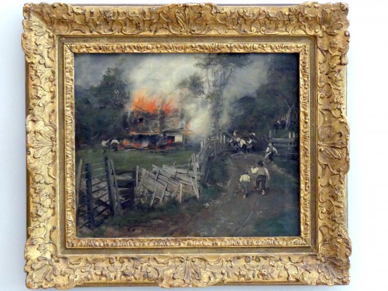 Franz von Defregger: Das brennende Seppenhaus, 1890