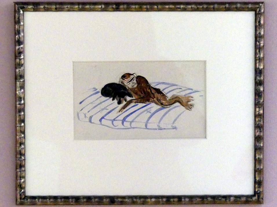 Alexander von Salzmann: Selbstporträt als Affe mit dem Dackel der Marianne von Werefkin, Um 1903