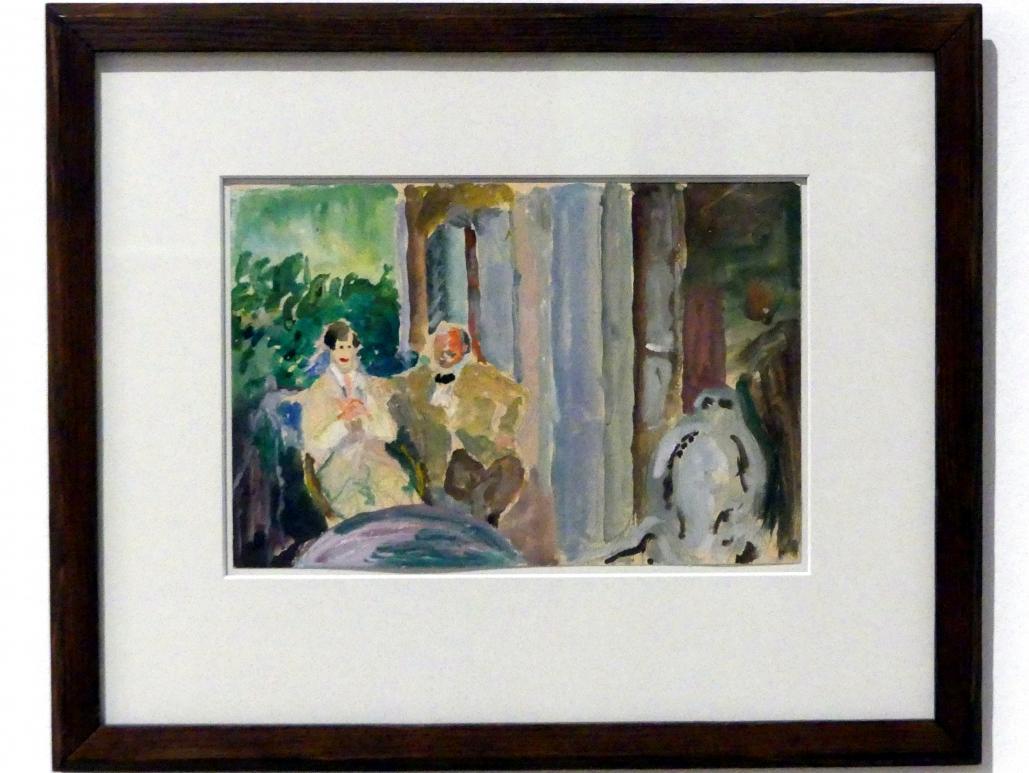 Marianne von Werefkin: Sacharoff und Jawlensky auf dem Balkon in St. Prex am Genfer See, 1917 - 1918