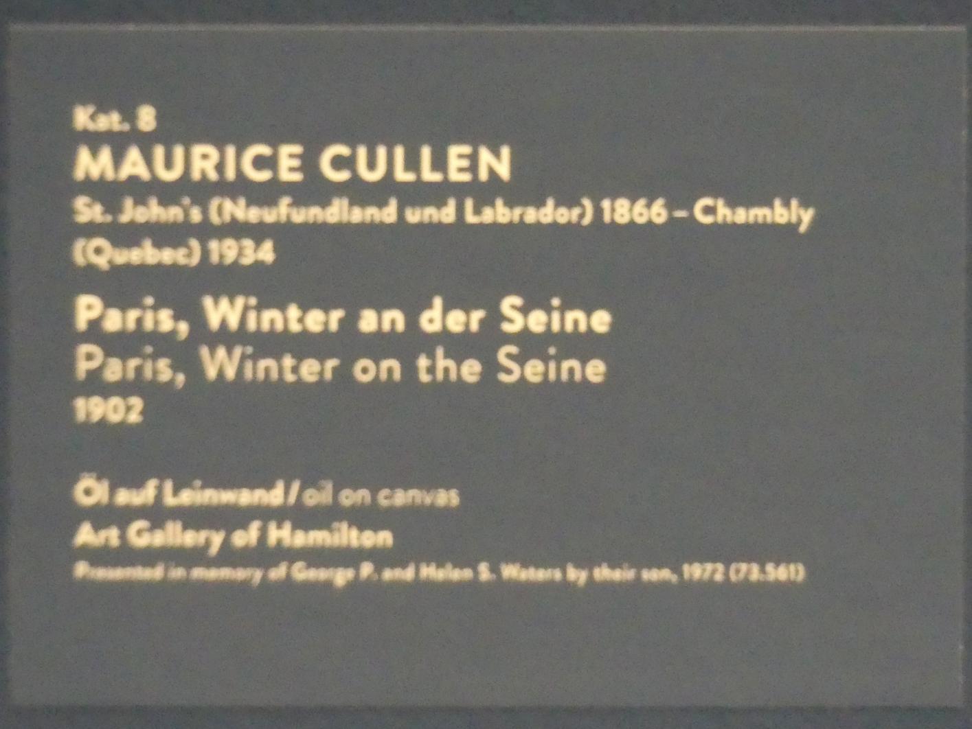 Maurice Galbraith Cullen: Paris, Winter an der Seine, 1902, Bild 2/2