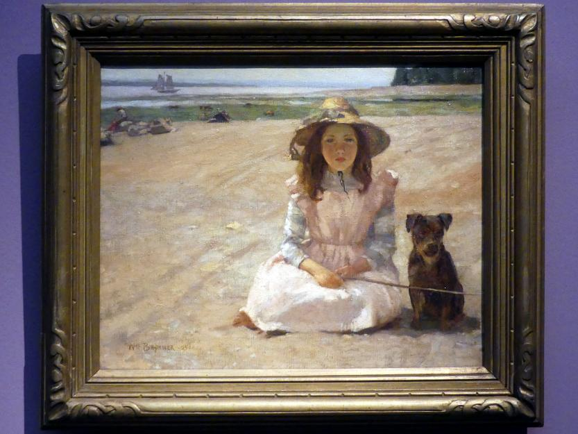 William Brymner: Mädchen mit Hund, Bas-Saint-Laurent, 1905