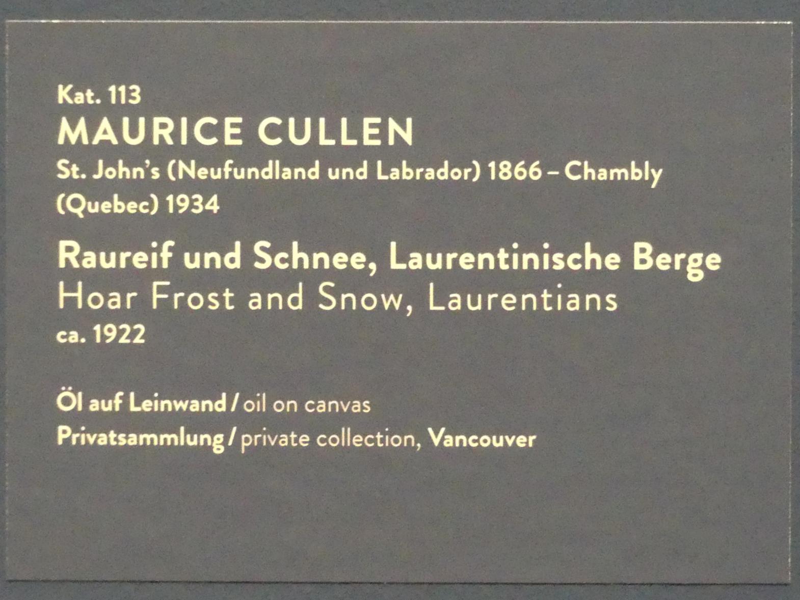 Maurice Galbraith Cullen: Raureif und Schnee, Laurentinische Berge, um 1922, Bild 2/2