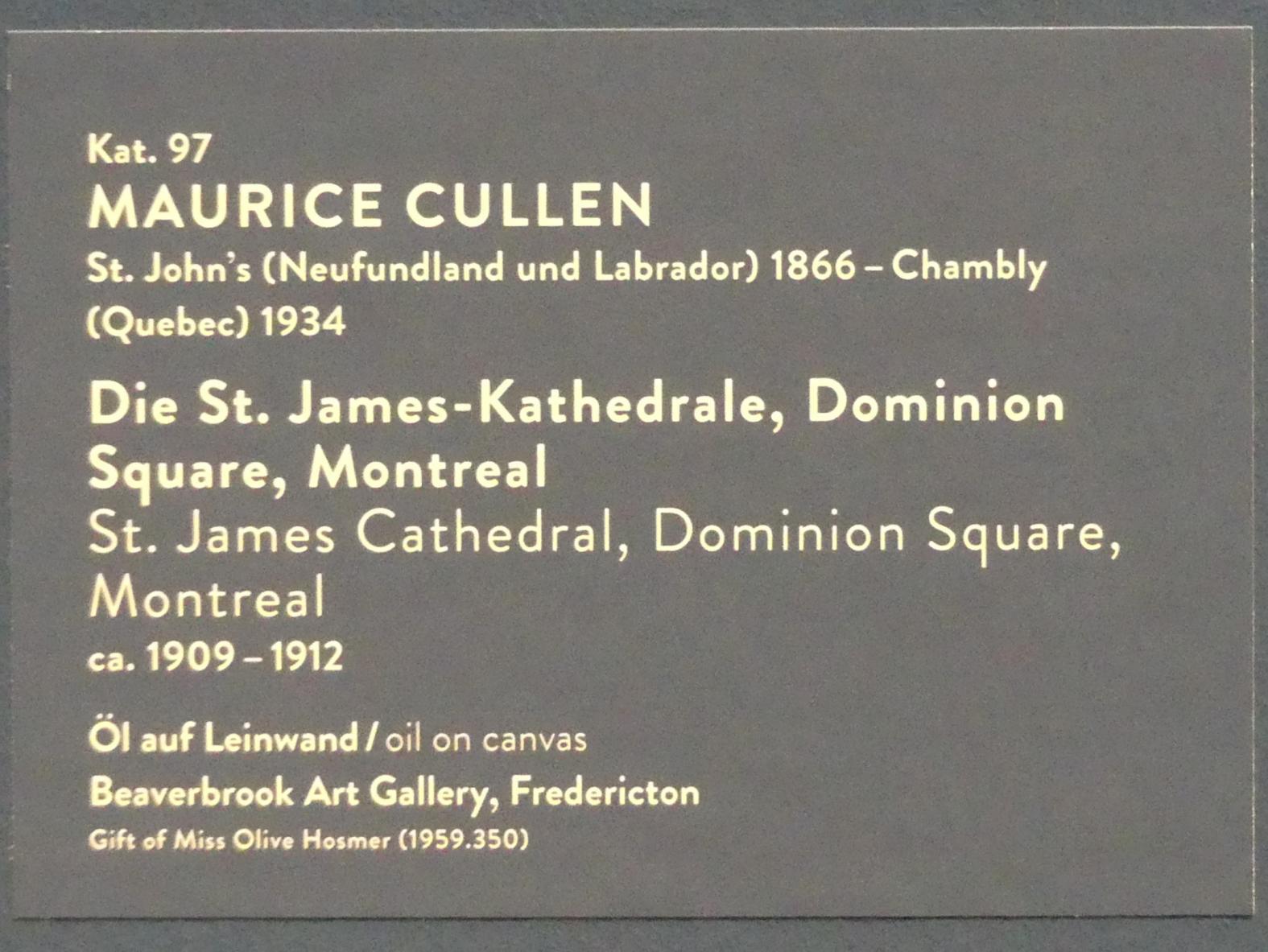 Maurice Galbraith Cullen: Die St. James-Kathedrale, Dominion Square, Montreal, um 1909 - 1912, Bild 3/3