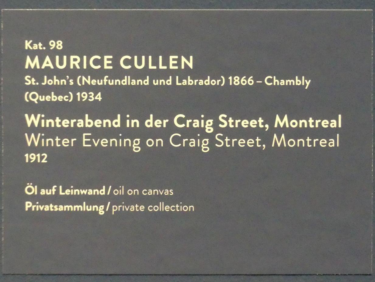 Maurice Galbraith Cullen: Winterabend in der Craig Street, Montreal, 1912, Bild 2/2