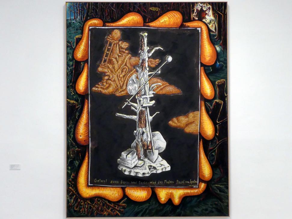 Jörg Immendorff: Getarnt durch Baum und Borke wird des Malers Pinsel zum Spaten, 1999