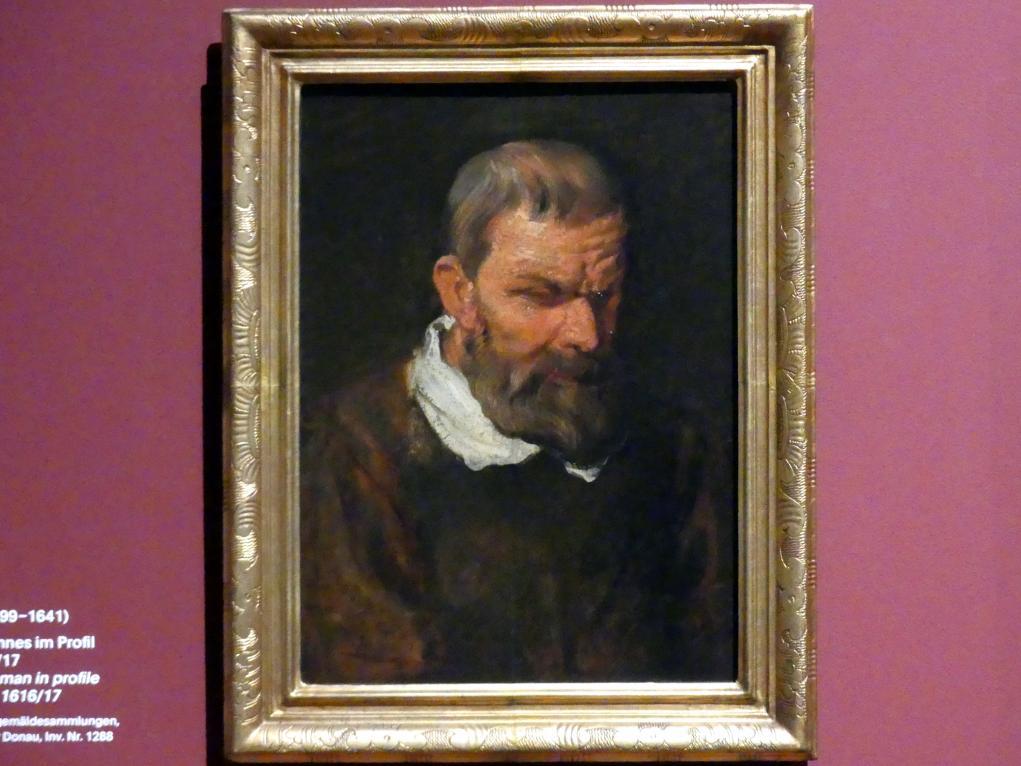Anthonis (Anton) van Dyck: Studienkopf eines Mannes im Dreiviertelprofil, nach unten rechts blickend, um 1616 - 1617