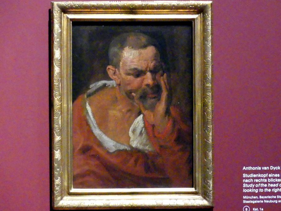 Anthonis (Anton) van Dyck: Studienkopf eines nach rechts unten blickenden Mannes, der sein Kinn in die Hand stützt, um 1616 - 1617
