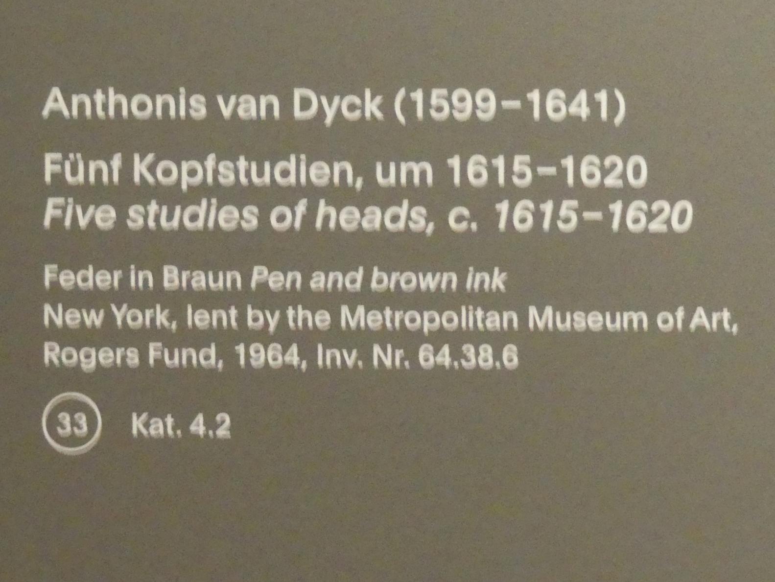 Anthonis (Anton) van Dyck: Fünf Kopfstudien, um 1615 - 1620, Bild 3/3