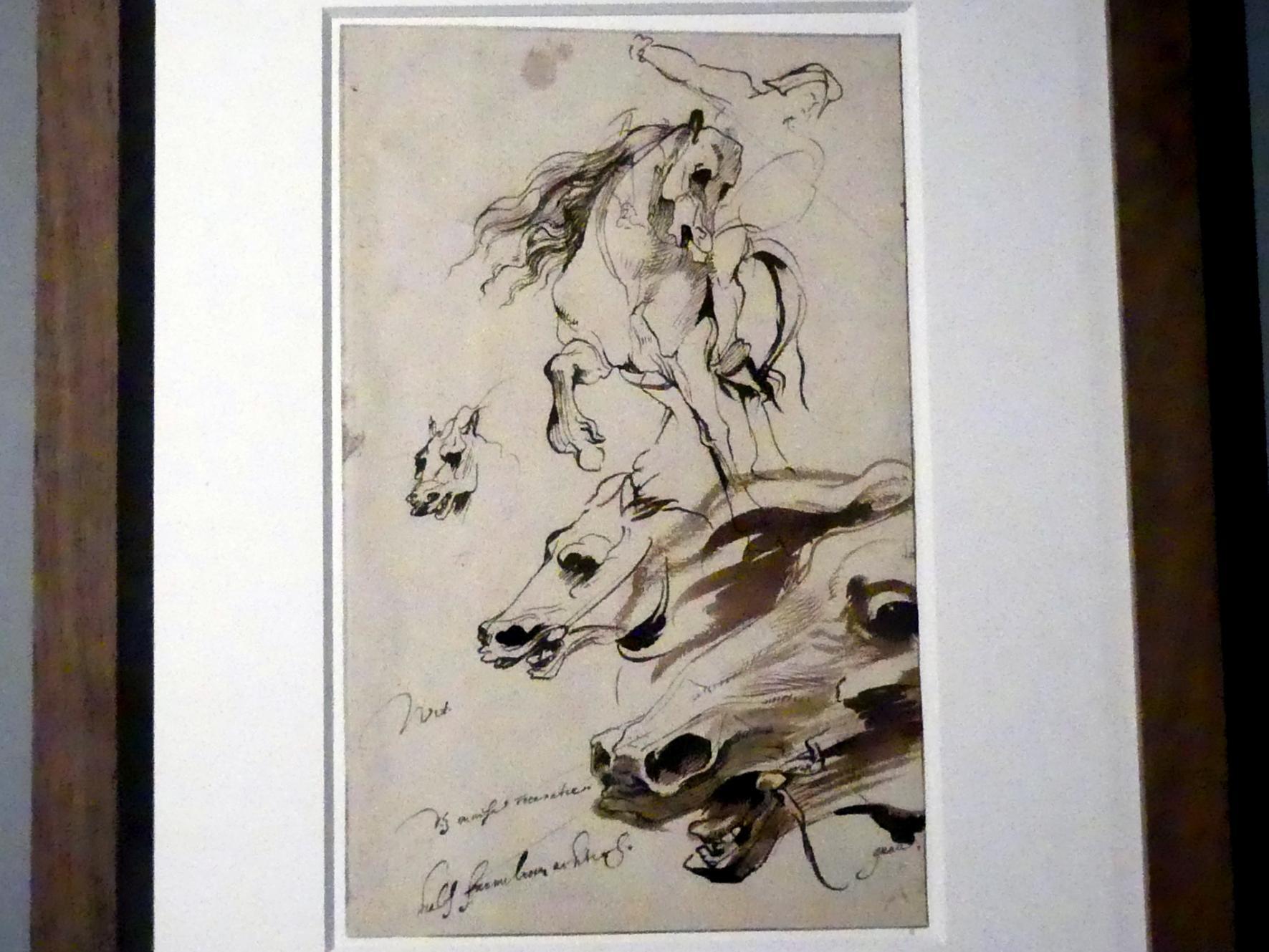 Anthonis (Anton) van Dyck: Studie von drei Pferdeköpfen und einem Reiter, um 1617 - 1621
