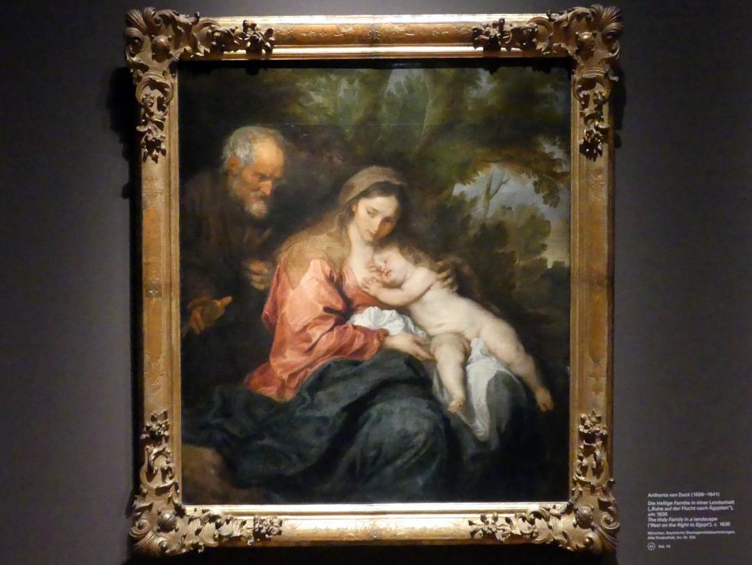 """Anthonis (Anton) van Dyck: Die Heilige Familie in eines Landschaft (""""Ruhe auf der Flucht nach Ägypten""""), um 1630"""