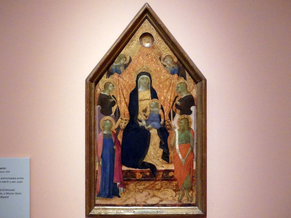 Bartolomeo Bulgarini: Thronende Maria mit Kind zwischen vier Engeln, einer Märtyrerin und Johannes dem Täufer, um 1340 - 1345