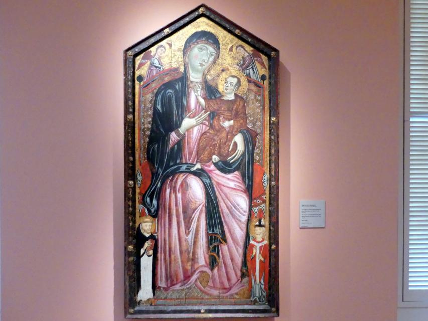 Meister der Heiligen Magdalena: Thronende Maria mit Kind und den Heiligen Dominikus und Martin und zwei Engeln, um 1290