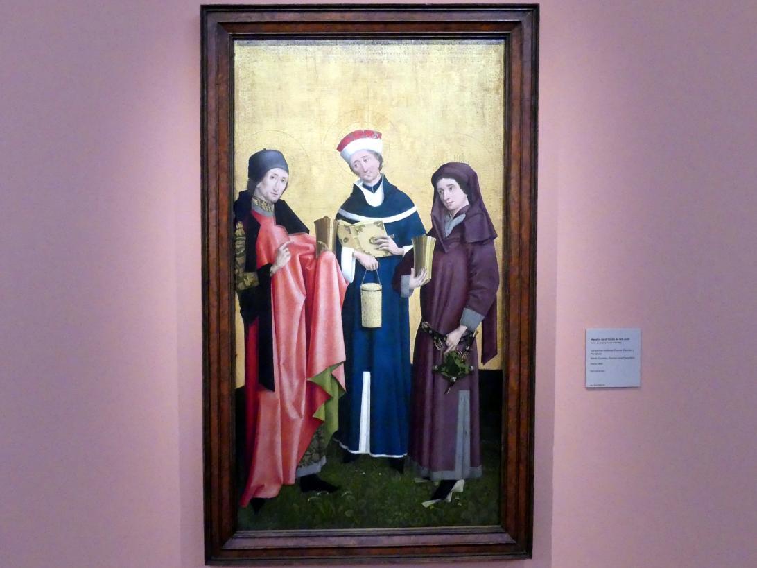 Kölner Meister der Johannesvision: Heilige Cosmas, Damian und Pantaleon, um 1455