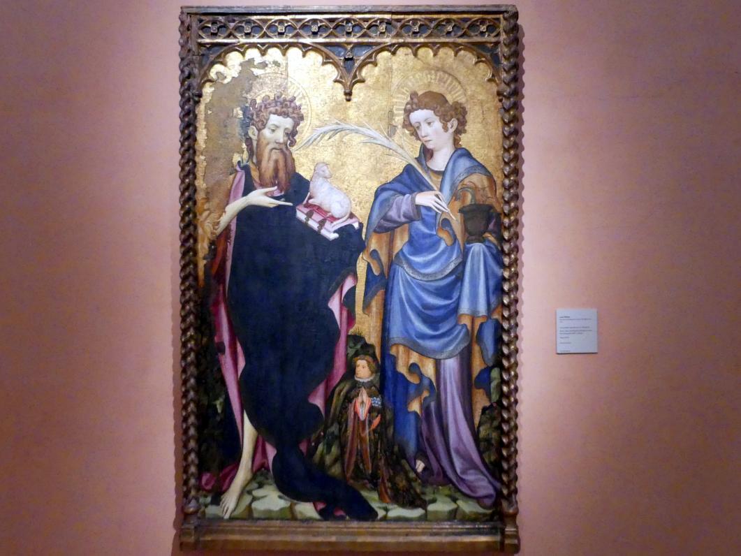 Juan Mates (Joan Mates): Hll. Johannes der Täufer und Johannes der Evangelist mit einem Stifter, um 1410