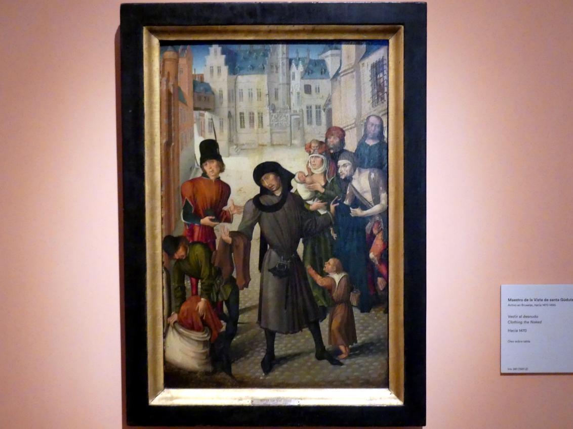 Meister von Sainte Gudule: Bekleidung der Nackten, um 1470