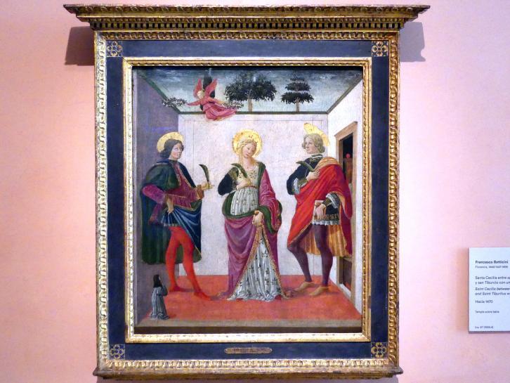Francesco Botticini: Die heilige Cäcilia zwischen den hll. Valerian und Tiburtius mit einem Stifter, um 1470