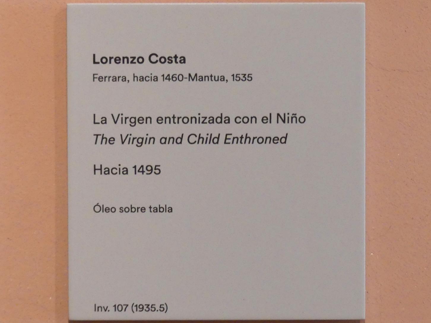 Lorenzo Costa: Thronende Maria mit Kind, um 1495, Bild 2/2