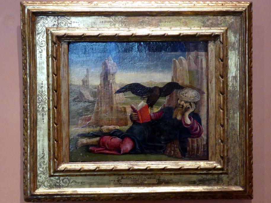Cosmè (Cosimo) Tura: Der Evangelist Johannes auf Patmos, um 1470 - 1475
