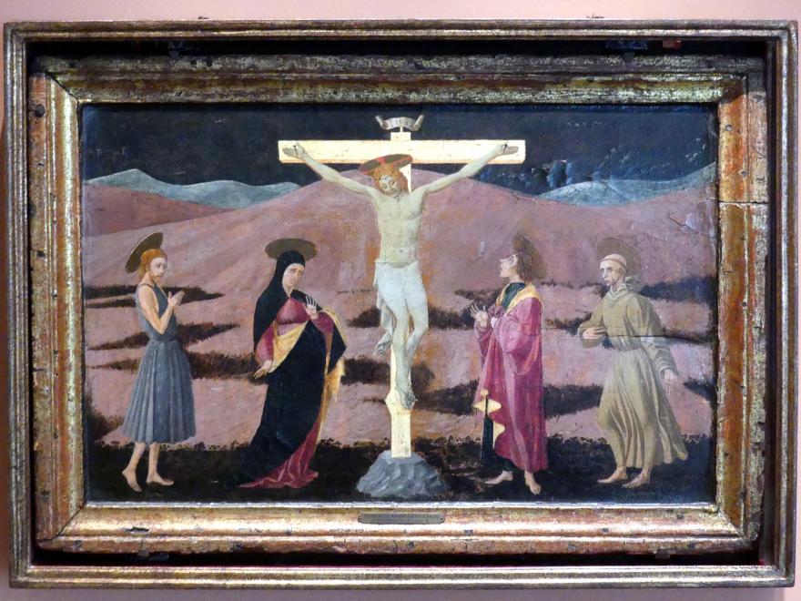 Paolo Uccello (Paolo di Dono): Gekreuzigter Christus mit der Jungfrau Maria und den hll. Johannes der Täufer, Johannes der Evangelist und Franziskus, um 1460 - 1465