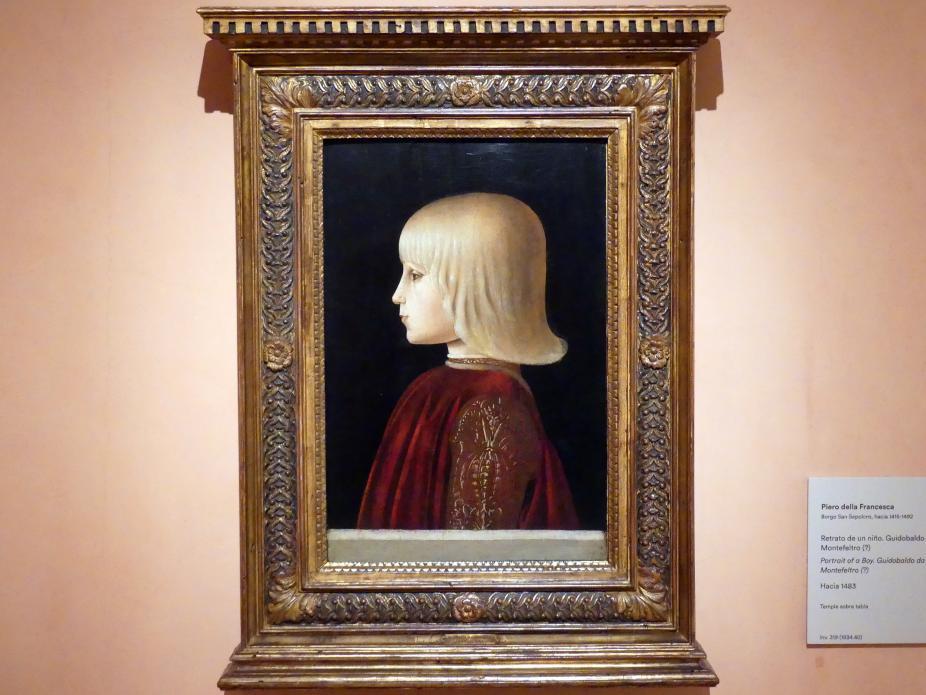 Piero della Francesca: Porträt eines Jungen. Guidobaldo da Montefeltro (?), um 1483