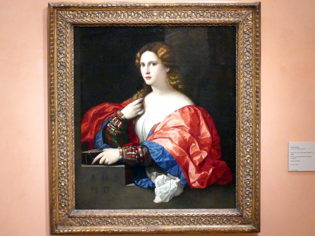 """Jacopo Palma il Vecchio (Jacomo Nigretti de Lavalle): Porträt einer jungen Frau, bekannt als (""""La Bella""""), um 1518 - 1520"""
