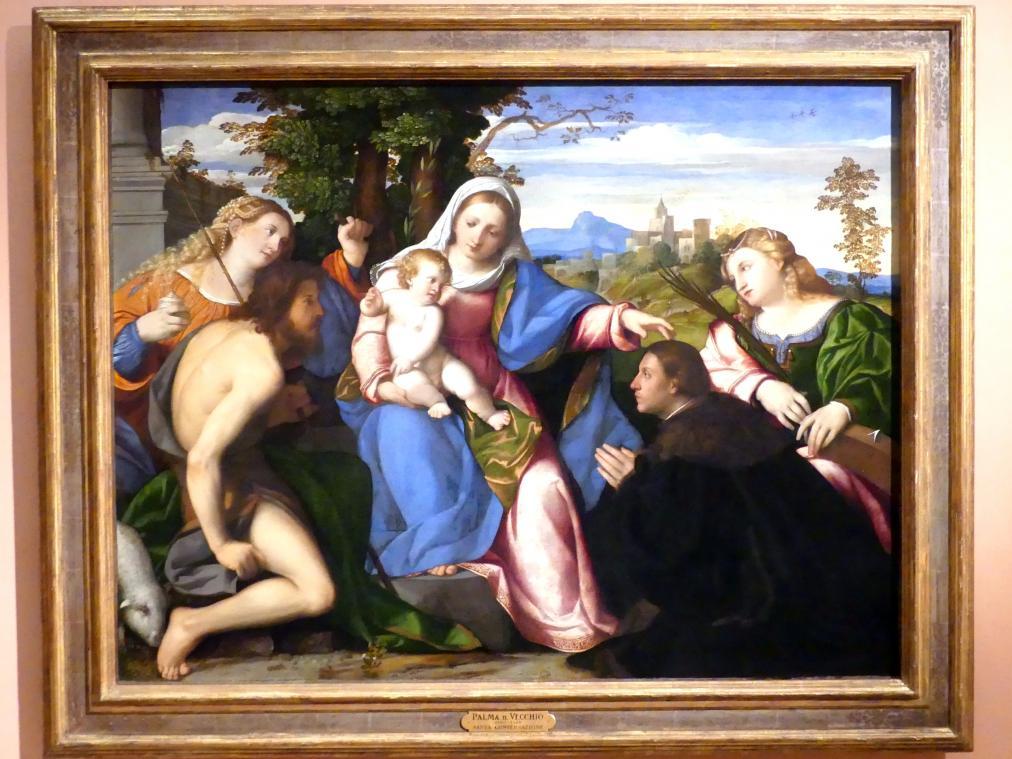 Jacopo Palma il Vecchio (Jacomo Nigretti de Lavalle): Maria mit Kind, Heiligen und einem Stifter, um 1518 - 1520