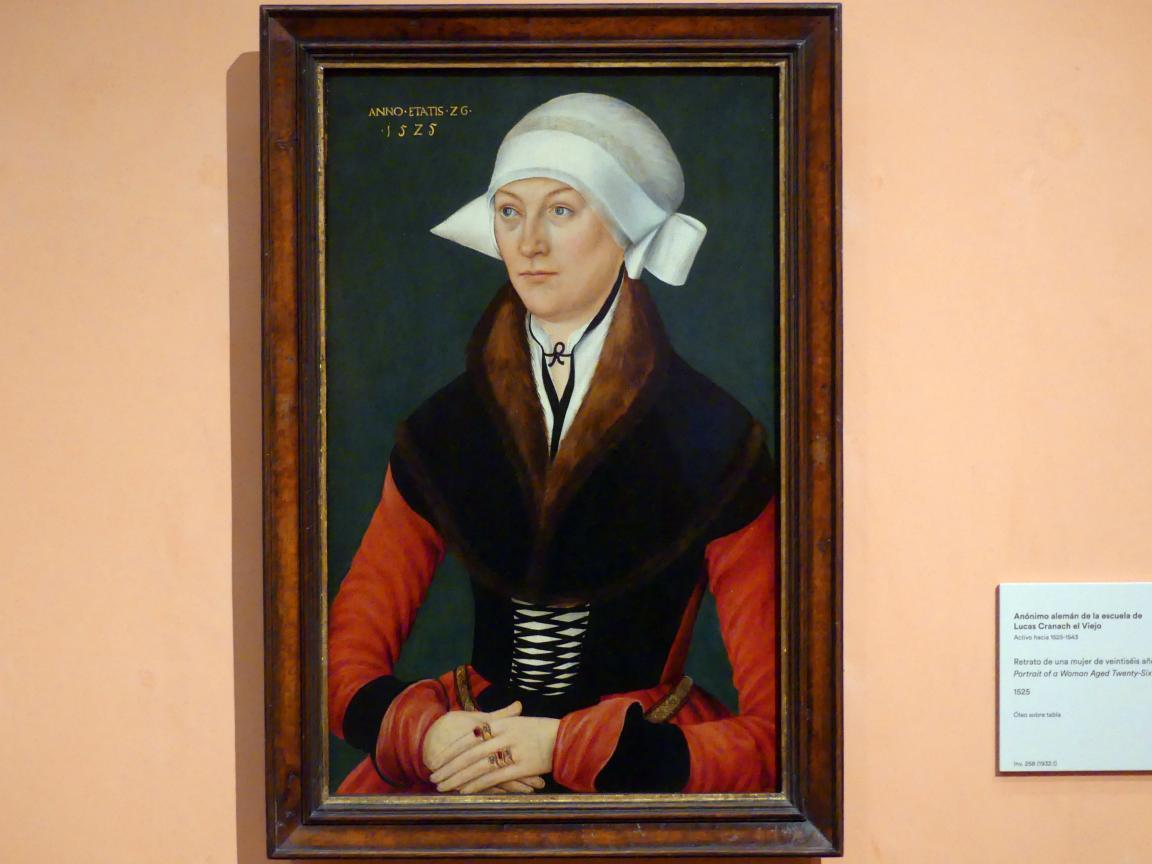 Lucas Cranach der Ältere (Umkreis): Porträt einer 26-jährigen Frau, 1525