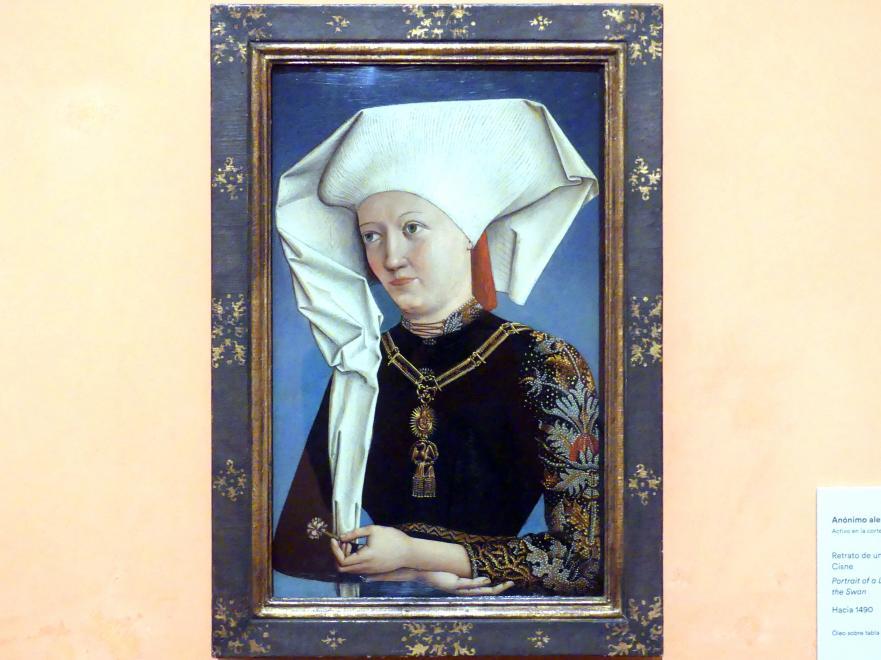 Porträt einer Dame mit dem Schwanenritterorden, um 1490