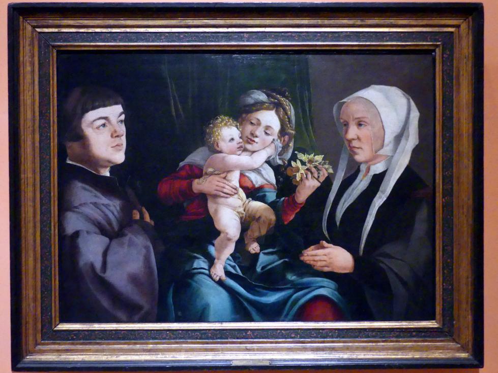 Jan van Scorel: Narzissen-Madonna mit Stiftern, um 1535