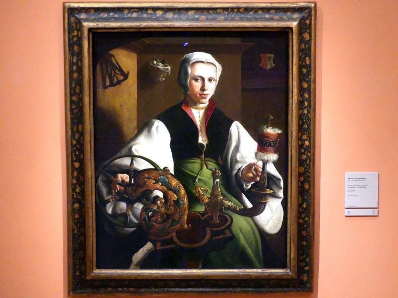Maarten van Heemskerck: Porträt einer Dame am Spinnrad, um 1531