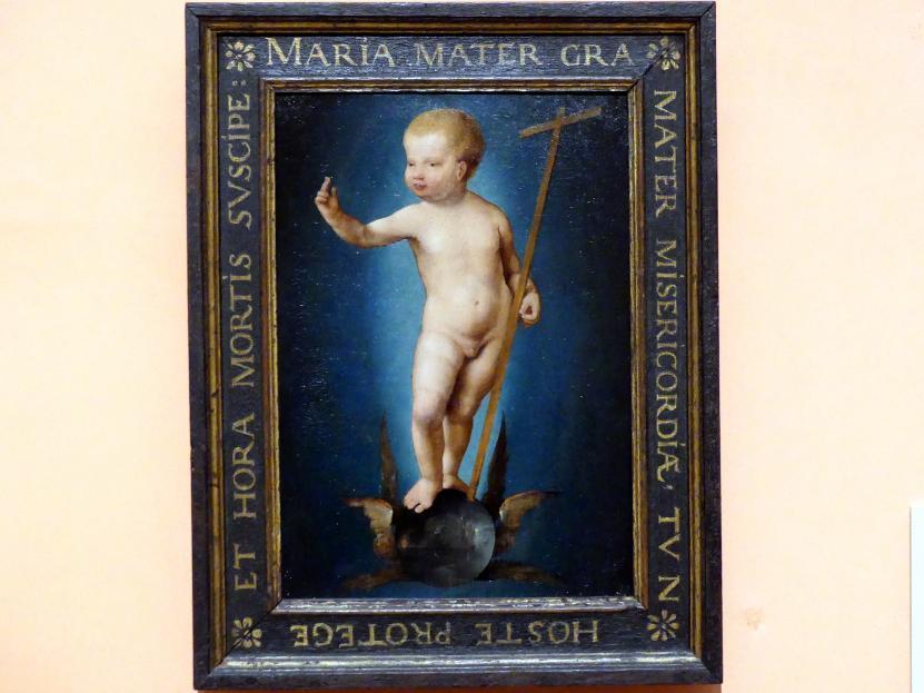 Joos van Cleve (Joos van der Beke): Das segnende Christkind auf der geflügelten Weltkugel, um 1530