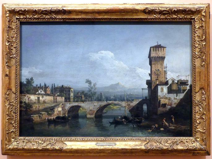 Bernardo Bellotto (Canaletto): Capriccio mit Fluss und Brücke, um 1745