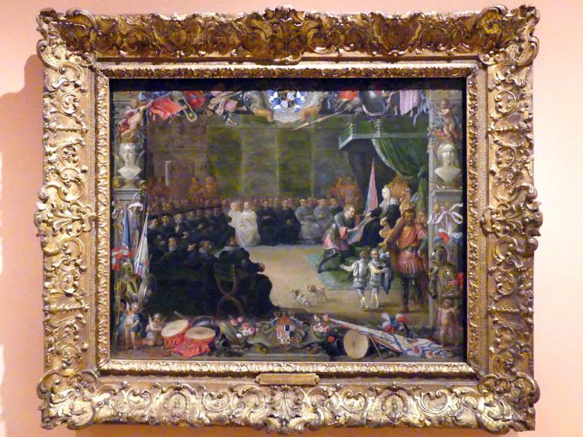 David Teniers der Jüngere: Die Übergabe des Kommandostabs des Generalkapitäns an Antonio de Moncada durch Königin Blanca, Regentin von Sizilien im Jahr 1410, 1664