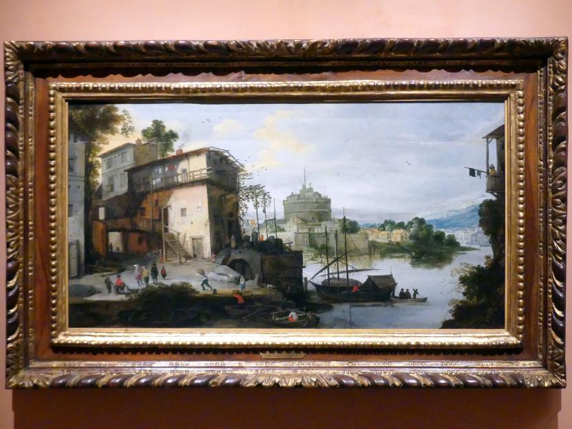 Meister des Monogramms IDM: Blick auf einen Flusshafen mit der Engelsburg, Undatiert