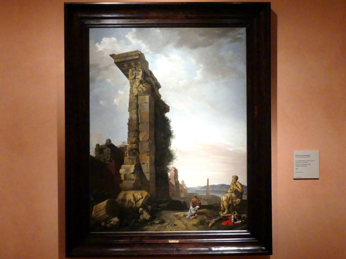 Bartholomeus Breenbergh: Capriccio mit römischen Ruinen, Skulpturen und einem Hafen, 1650