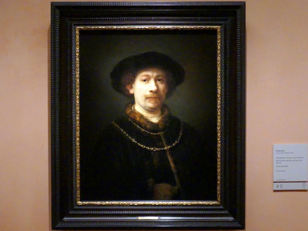 Rembrandt (Rembrandt Harmenszoon van Rijn): Selbstporträt mit Hut und zwei Ketten, um 1642 - 1643