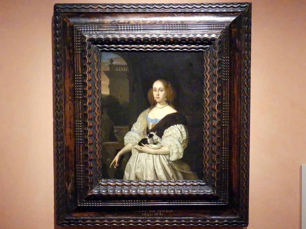 Frans van Mieris der Ältere: Porträt einer Dame mit einem Schoßhund, 1672