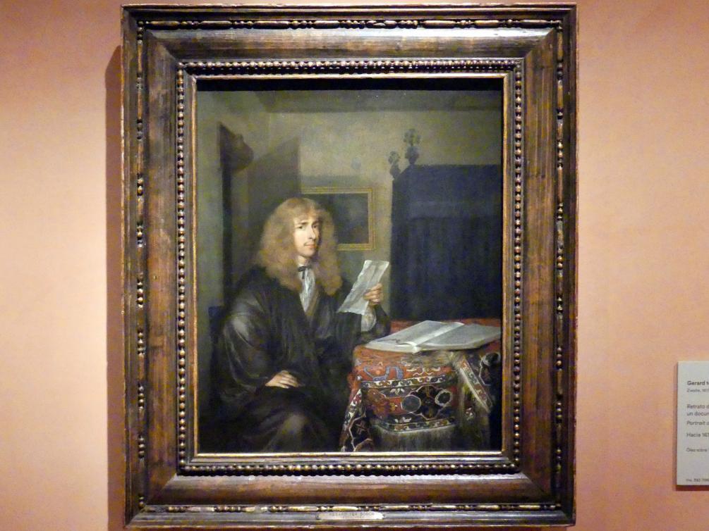 Gerard ter Borch: Porträt eines Mannes, der ein Dokument liest, um 1675