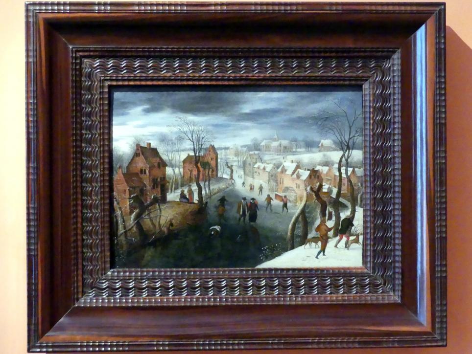 Jacob Grimmer: Eine Winterlandschaft mit einem Dorf, Schlittschuhläufer auf einem gefrorenen Fluss und Jäger im Vordergrund, Undatiert