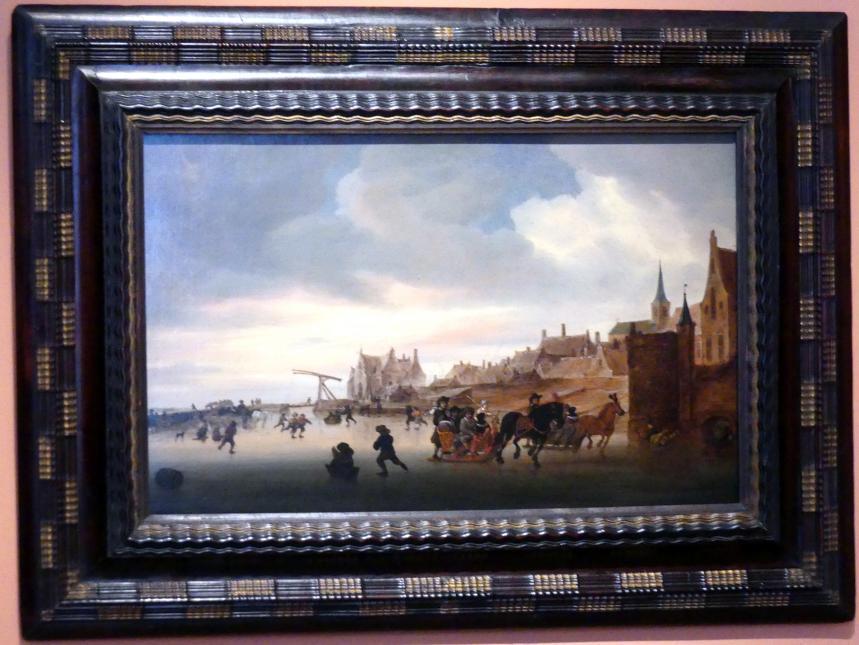 Salomon van Ruysdael: Winterlandschaft mit Schlittschuhläufern und Schlitten vor einer Stadt, um 1660 - 1670