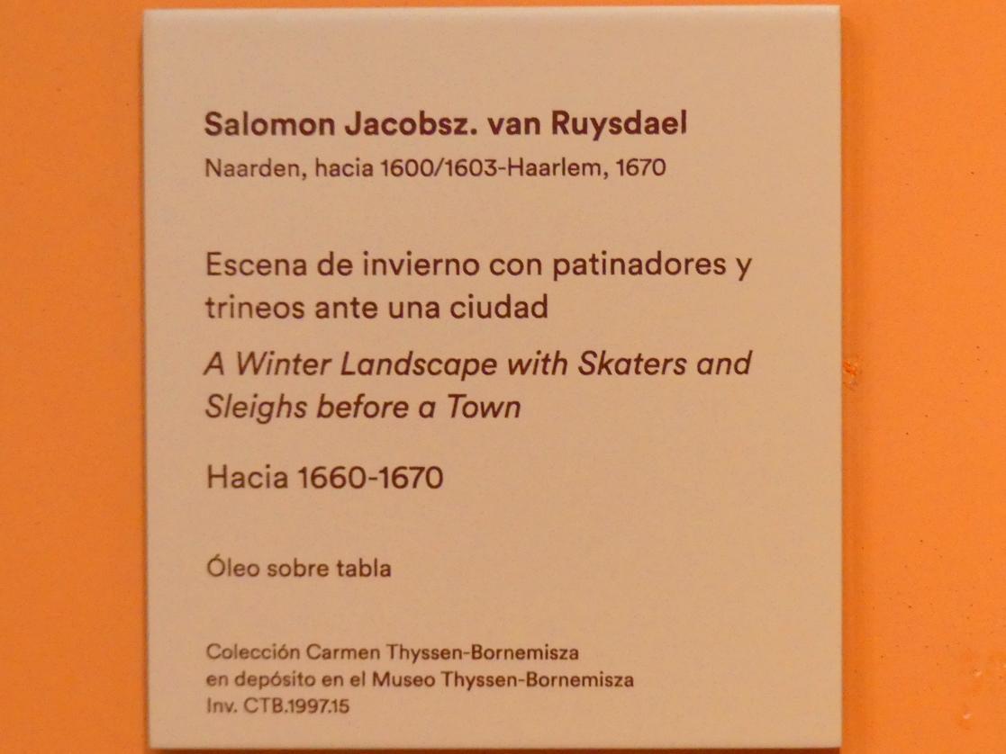 Salomon van Ruysdael: Winterlandschaft mit Schlittschuhläufern und Schlitten vor einer Stadt, um 1660 - 1670, Bild 2/2