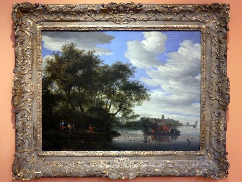 Salomon van Ruysdael: Blick auf den Fluss Vecht mit Fähre, Fischern und der Burg Nijenrode im Hintergrund, um 1660 - 1670