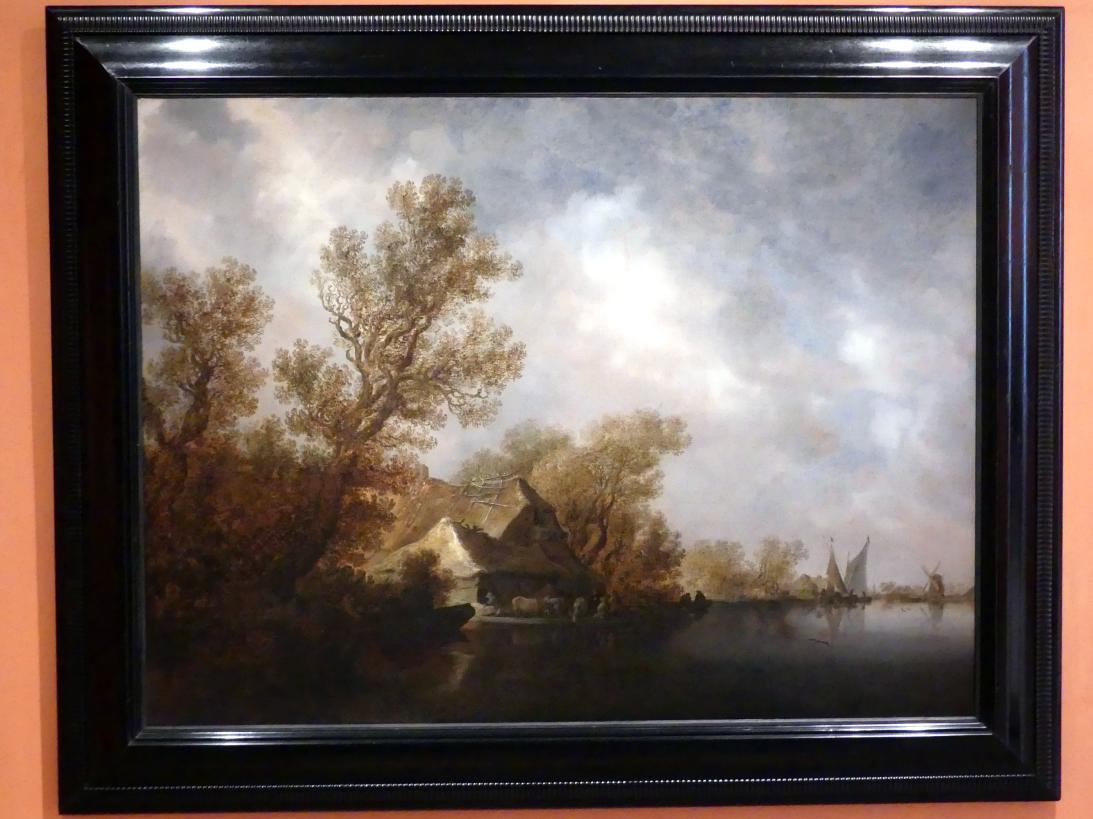 Jan van Goyen: Flusslandschaft mit Fähre und Hütten, 1634