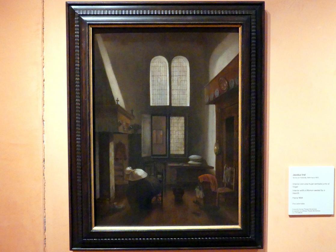 Jacobus Vrel: Interieur mit einer Frau an einer Feuerstelle, um 1654