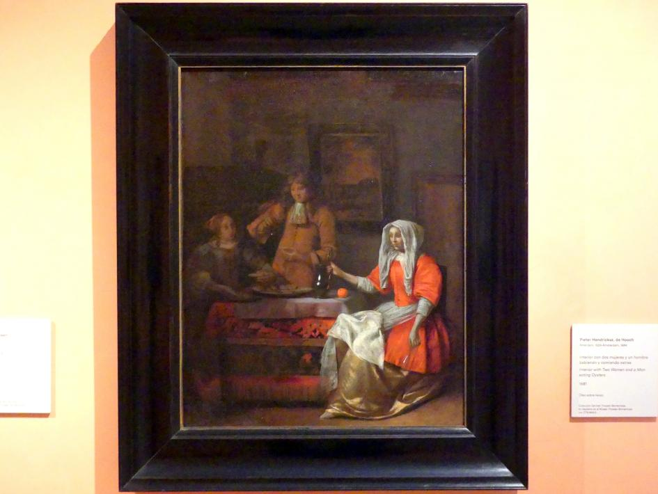 Pieter de Hooch: Interieur mit zwei Männern und einer Frau beim Austern essen, 1681
